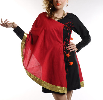 Women's Designer Hot Pink Chanderi With Black Fitted Dress