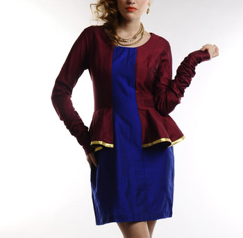 Women's Designer Maroon And Electric Blue Cotton Silk Dress