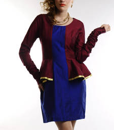 Buy Women's Designer Maroon And Electric Blue Cotton Silk Dress dress online