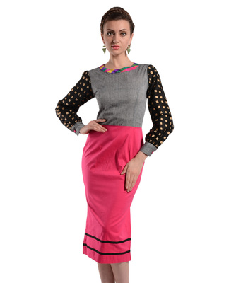 Women's Designer Calf Length Dress With Printed Sleeves
