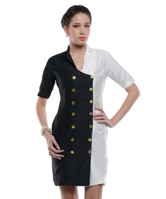 Women's Designer Black And White Double Breasted Coat Style Dress