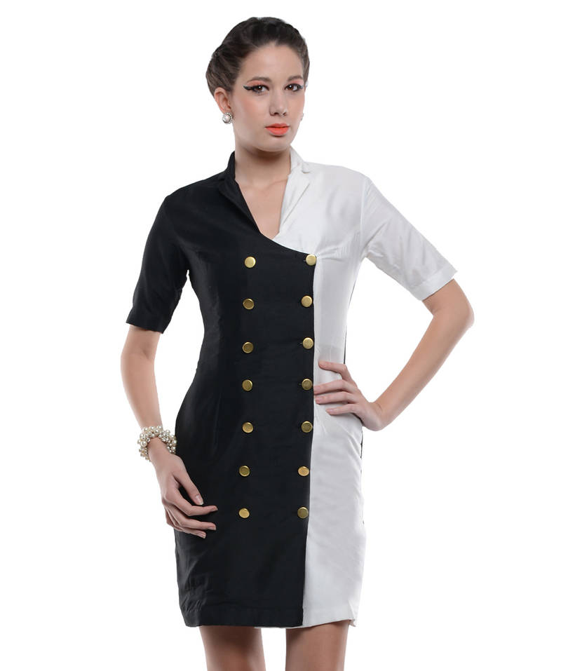Buy Women S Designer Black And White Double Breasted Coat