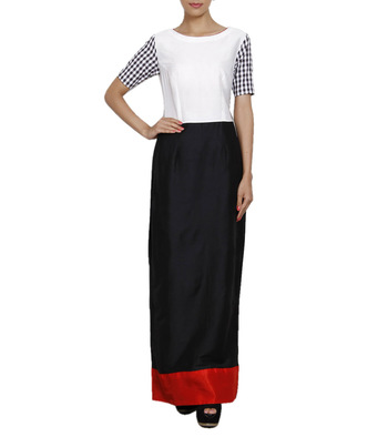 Women's Designer Black And White Maxi With Red Details