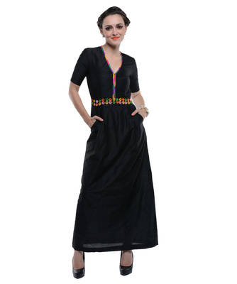 Women's Designer Boho Chic Black Maxi With Mirror Work