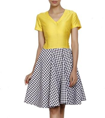 Women's Designer Yellow Bodice And Checkered Shirt Dress