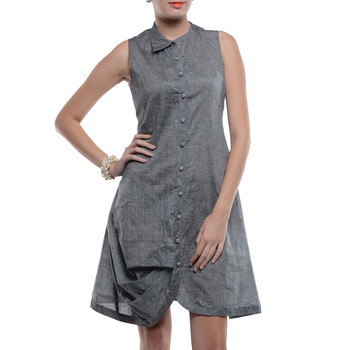 Women's Designer Grey Mangalgiri Shirt Dress