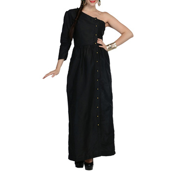 Women's Designer Black One Shoulder Maxi With Gathers
