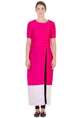 Women's Designer Pink Solid Tunic With With Assymetrical Buttoning