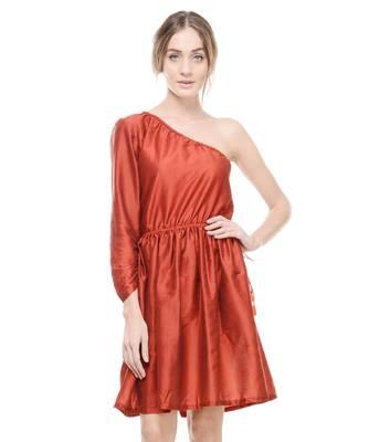 Women's Designer Maroon Cotton Silk Gathered Dress