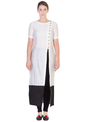 Women's Designer White Solid Tunic With With Assymetrical Buttoning