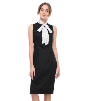 Women's Designer Black Cotton Lycra Dress With Printed Bow Tie Collar