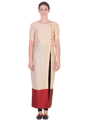 Women's Designer Beige Solid Tunic With With Assymetrical Buttoning
