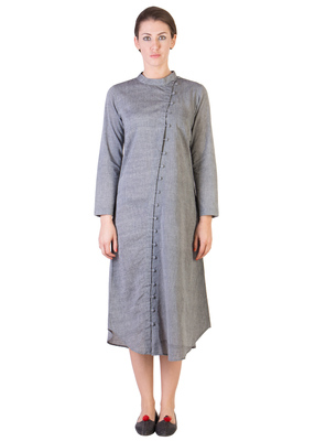 Women's Designer Grey Tunic With Assymetrical Buttoning