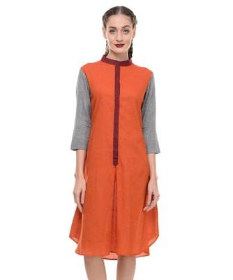 Women's Designer Orange Mangalgiri Dress