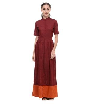 Women's Designer Maroon Mangalgiri Maxi
