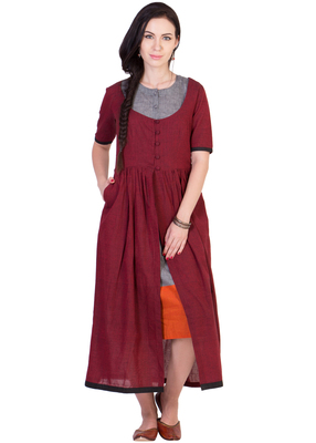 Women's Designer Maroon Mangalgiri Tunic With Grey Inner