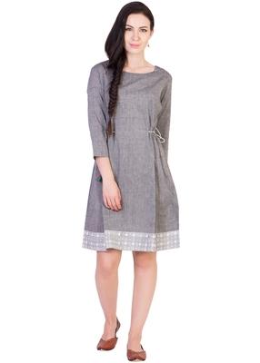 Women's Designer Grey Mangalgiri Tunic With Printed Border