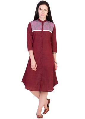 Women's Designer Maroon Mangalgiri Tunic With A Printed Yoke