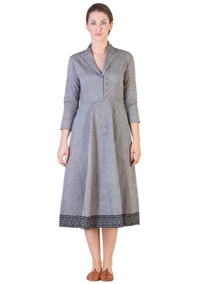 Women's Designer Grey Mangalgiri Dress With Black Border