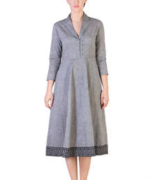 Buy Women's Designer Grey Mangalgiri Dress With Black Border dress online