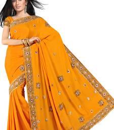 Buy Fancy Designer Pure Italian Crepe Saree Blouse 411 crepe-saree online