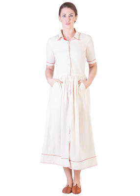 Women's Designer Muslin Gathered Dress With Red Details