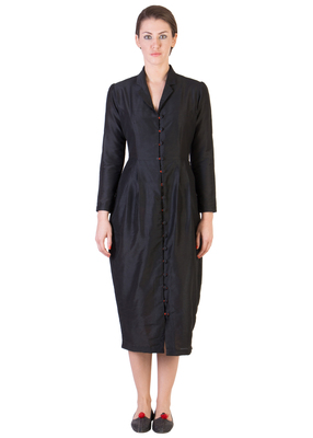 Women's Designer Black Dress With Orange Button Loops