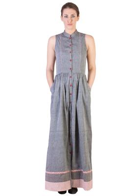 Women's Designer Grey Mangalgiri Maxi With Red Details
