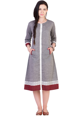 Women's Designer Grey Mangalgiri Dress With Contrast Pocket And Printed Border