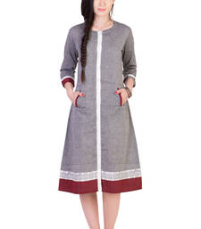 Buy Women's Designer Grey Mangalgiri Dress With Contrast Pocket And Printed Border dress online
