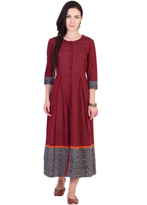 Women's Designer Maroon Mangalgiri Pleated Midi With Block Printed Grey Border