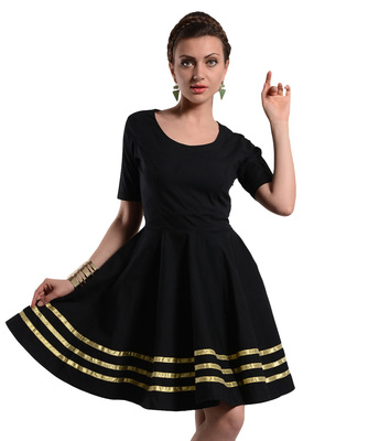 Women's Designer Black Dress With Golden Details