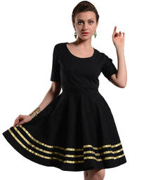 Buy Women's Designer Black Dress With Golden Details dress online