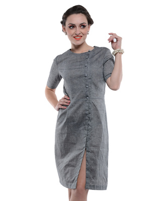 Women's Designer Grey South Cotton Dress With Asymetrical Buttoning