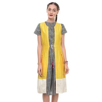 Women's Designer Yellow Cotton Silk Wrap Dress With White Border