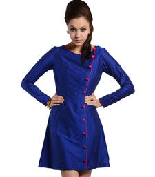 Buy Women's designer Blue Dress With Overlap dress online