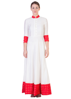Women's Designer Floor Length Dress With Red Details