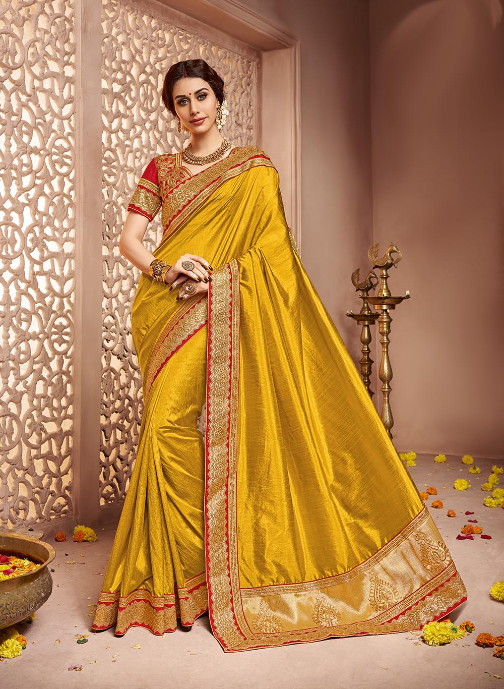 733779bd15cf36 Dark gold embroidery silk saree with blouse - Lexon Collection - 1662831