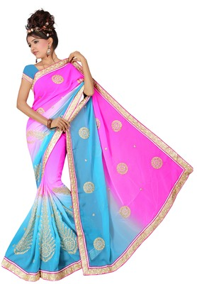 Pink and Blue Embroidered Georgette Saree With Blouse