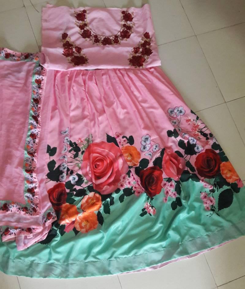 3922c17100 multicolor printed silk lehenga with choli - Today Bazar - 1663902