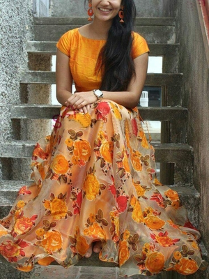 d0772ae92e multicolor printed silk lehenga with choli - Today Bazar - 1663928