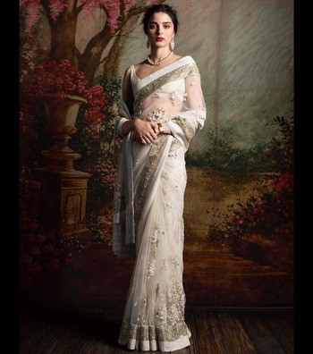Off White Embroidered Net Saree With Blouse Manjula Feb 1664130