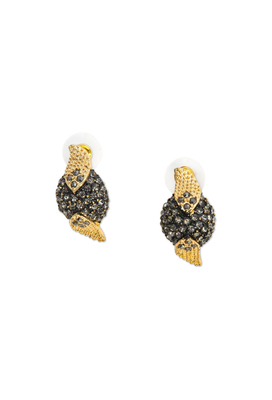 The black with gold crystal ear studs