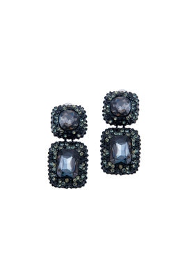 Vintage Black Crystal Earrings