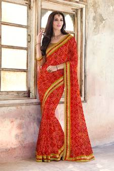 e2d7309a719 red embroidred georgette saree with blouse