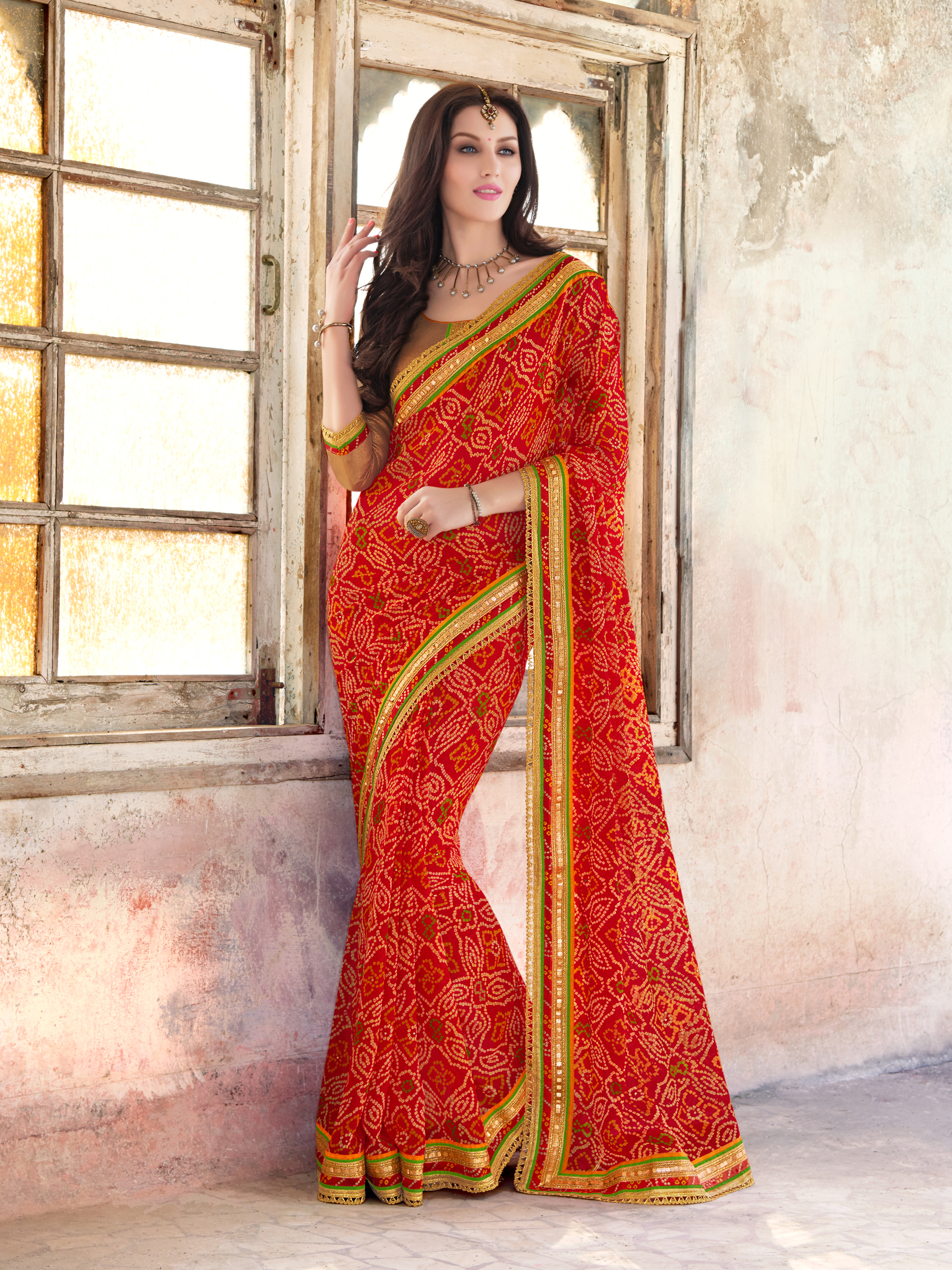 198a6cb66c3206 red embroidred georgette saree with blouse - Indian Women Fashions Pvt Ltd  - 1664964