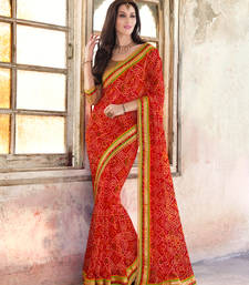 Buy red embroidred georgette saree with blouse bandhani-sarees-bandhej online
