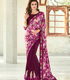 Buy violet embroidred satin georgette saree with blouse heavy-work-saree online
