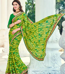 Buy green embroidred moss chiffon saree with blouse heavy-work-saree online