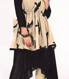 Buy Black and Cream embroidred Georgette kurtas-and-kurtis kurtas-and-kurti online